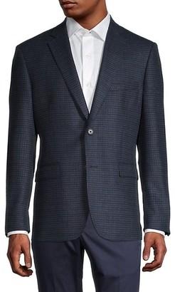 Saks Fifth Avenue Standard-Fit Checkered Wool & Cashmere-Blend Blazer