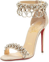 Christian Louboutin Gypsandal Ring-Trim 100mm Red Sole Sandal, Latte