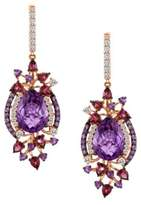 LeVian Le Vian Amethyst And 14K Strawberry Gold Drop Earrings