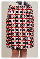 Ida Pencil Skirt in Red Multi Tweed