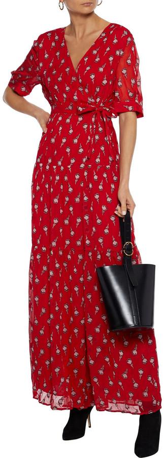 Thumbnail for your product : BA&SH Madona Fil Coupe Silk-blend Gauze Maxi Wrap Dress