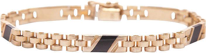 JCPenney FINE JEWELRY Mens Onyx 14K Gold Link Bracelet