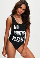 Missguided Black No Photos Please Swimsuit