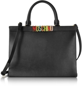 Moschino Black Leather Tote w/Detachable Shoulder Strap