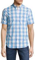 Lacoste Short-Sleeve Gingham Shirt, Light Blue/White