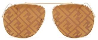 Fendi Ff-print Aviator Metal Sunglasses - Brown Gold