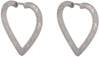 Carolina Bucci Small Heart Hoop Earrings - White Gold