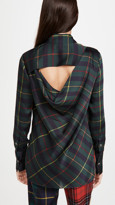 Monse Cowl Back Plaid Blouse