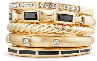 David Yurman Stax Ring with Black Spinel, Black Enamel & Diamond in 18K Gold, 13mm