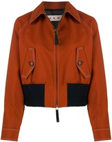 Marni Contrast-Stitch Point-Collar Bomber Jacket
