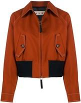 Marni contrast-stitch point-collar bomber jacket