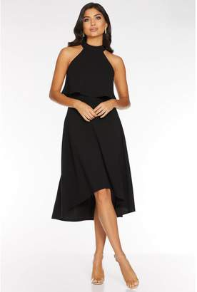 Quiz Black High Neck Dip Hem Dress