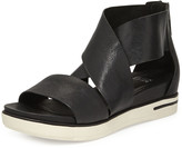 Eileen Fisher Sport Wide-Strap Leather Sandal, Black