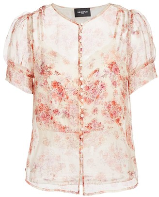 The Kooples Sheer Floral Button-Front Blouse