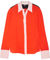 Emilio Pucci Color-block Silk Crepe De Chine Shirt - Tomato red