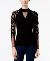 INC International Concepts Velvet Flocked Illusion Sweater, Only at Macy's