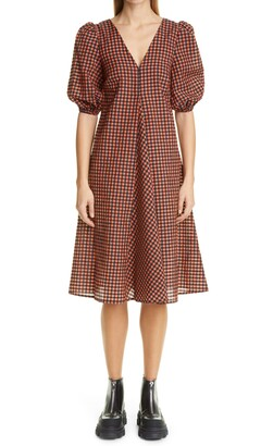 Ganni Check Balloon Sleeve Dress