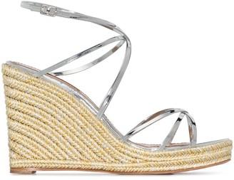 Aquazzura Bow Tie 105mm wedge sandals
