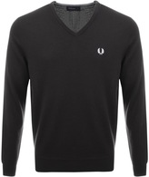 Fred Perry V Neck Knit Jumper Brown