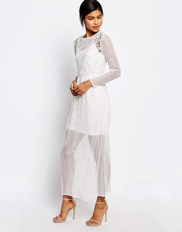 Vero Moda Sheer Lace Mix Maxi Dress