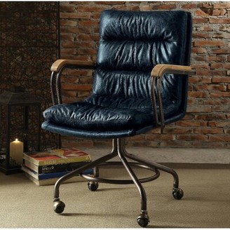 17 Stories Lincolnwood Leather Drafting Chair 17 Stories Upholstery Color: Blue
