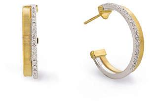 Marco Bicego Masai 18K White & Yellow Gold Hoop Earrings with Diamonds