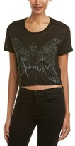 The Kooples Graphic Cropped Linen T-shirt.
