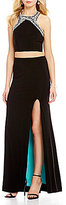 B. Darlin High Neck Beaded Trim Inner Beauty Open-Back Long Two-Piece Dress