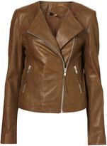 Collarless Soft Leather Biker Jacket