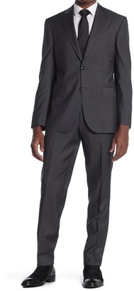 Ted Baker Jay Solid Gray Two Button Notch Lapel Trim Fit Suit
