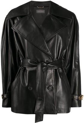 Alberta Ferretti Belted Leather Jacket