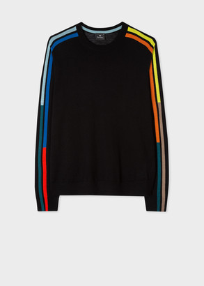 Paul Smith Men's Black Merino Sweater With Intarsia Stripe Sleeves