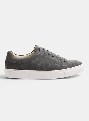 Topman Grey Real Suede Perry Trainers