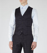 Reiss Reiss Horatious W - Checked Wool Waistcoat In Blue