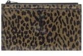 Saint Laurent Monogram Leopard-Print Patent Leather Zip Pouch
