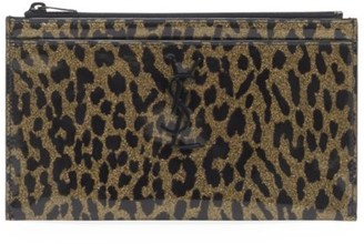 Saint Laurent Monogram Leopard-Print Patent Leather Zip Pouch