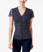 INC International Concepts Petite Printed Flutter-Sleeve Top, Only at Macy's