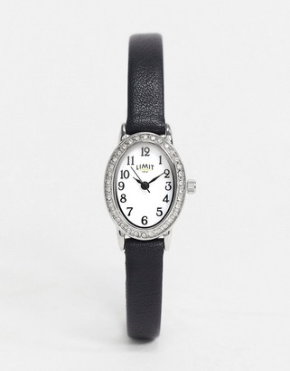 Limit Faux leather watch in black with oval dial