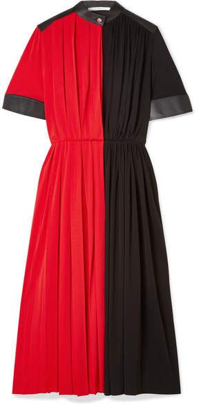 Givenchy Leather-paneled Pleated Stretch-jersey Midi Dress - Red