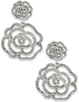 Kate Spade Silver-Tone Pavé Rose Drop Earrings