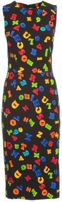 Moschino Pencil Dress W/s Crepe Magnets Fantasy