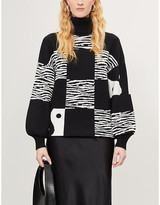 STAUD Zedd turtleneck zebra-print knitted jumper