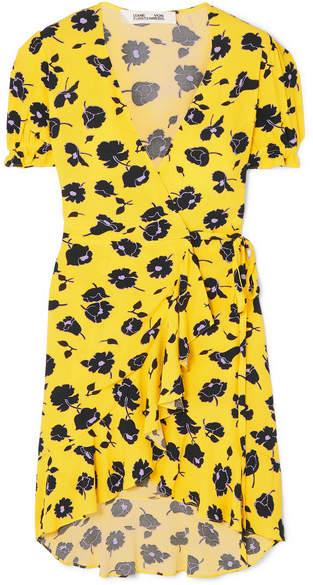 Diane von Furstenberg Kelly Ruffled Floral-print Crepe Wrap Dress - Yellow