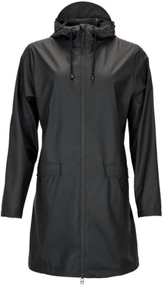 Rains Black Polyurethane And Polyester Womens Trench Coat - SMALL - Black