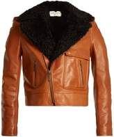 Saint Laurent Shearling-lapel leather biker jacket