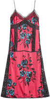 McQ Printed Satin Dress with Lace