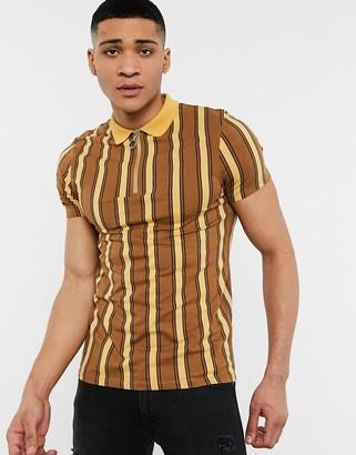ASOS DESIGN skinny polo in brown vertical stripe with zip neck