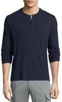 ATM Anthony Thomas Melillo Classic Long-Sleeve Henley Shirt, Navy