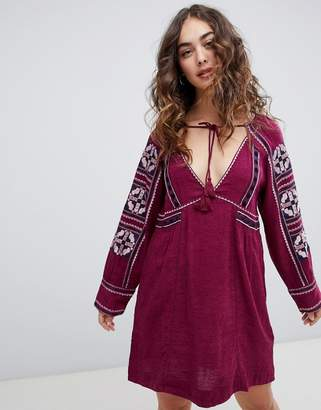 Free People All My Life embroidered shift dress-Purple