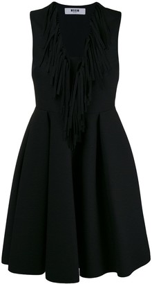 MSGM fringed V-neck flared dress